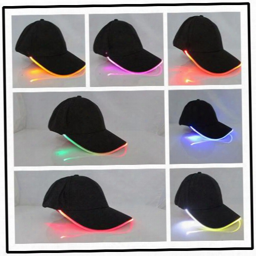 2016 Vogue Of New Fund Of Luminous Cap Led Baseball Hat Optical Fiber Light-emitting Hat Cool Run Tourism Sun Hat Christmas Gift