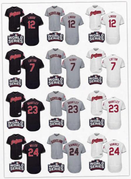 2016 World Series Patch Cleveland Indians Baseball Jerseys 7 Kenny Lofton 12 Francisco Lindor 22 Jason Kipnis 23 Brantley 24 Andrew Miller