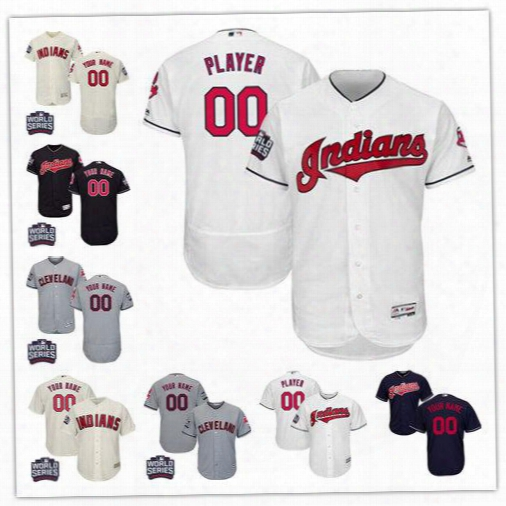 2016 World Series Patch Custom Women Kid Men's Cleveland Indians Authentic Collection Personalized Baseball Jersey Size S-6xl