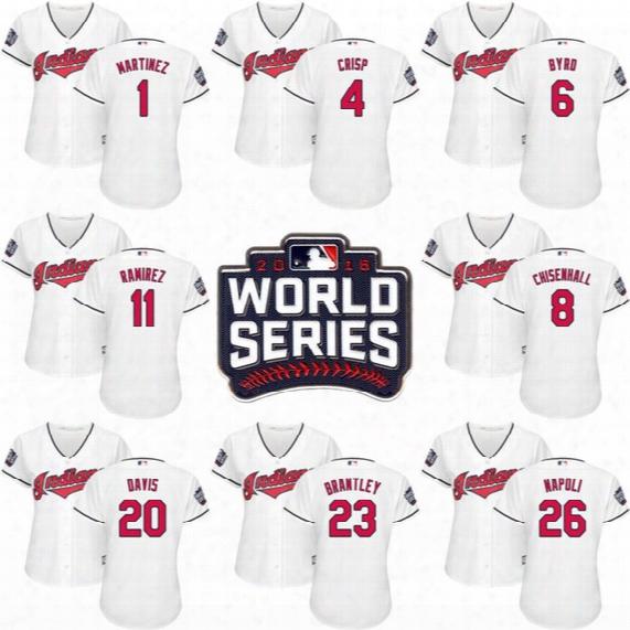2016 World Series Patch Women's Cleveland Indians 1 Mivhael Martinez 4 Coco Crisp 8 Lonnie Chisenhall 11 Jose Ramirez 20 Rajai Davis Jerseys