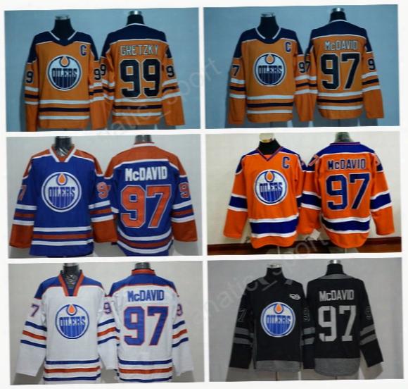 2017-2018 New 97 Connor Mcdavid Jersey Men Edmonton Oilers Ice Hockey 99 Wayne Gretzky Jersey All Stitched Orange Blue White Hot Selling