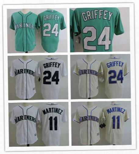 2017 #24 Ken Griffey Jr Jersey Cool Base Seattle Mariners Cream Blue White Green 11 Edgar Martinez Baseball Jerseys