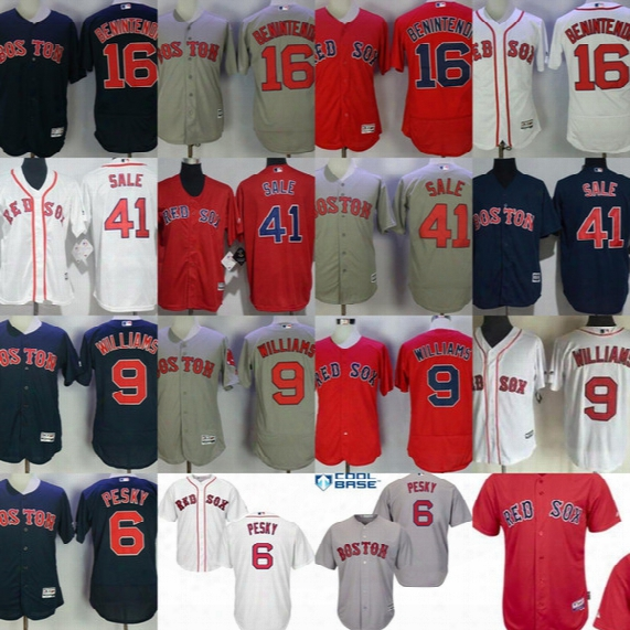 2017 Adult Girls Boys Boston Red Sox Ted Williams Johnny Pesky Andrew Benintendi Chris Sale Cool Flex Baseball Jerseys White Red Gray Navy