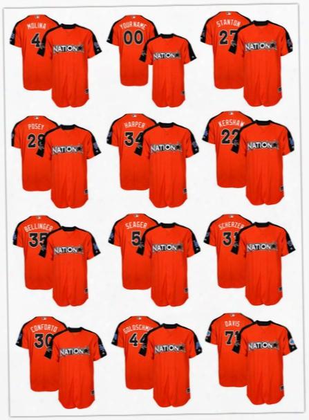 2017 All-star Men's National League Orange Bryce Harper Clayton Kershaw Corey Seager Cody Bellinger Paul Goldschmidt Yadier Molina Jerseys