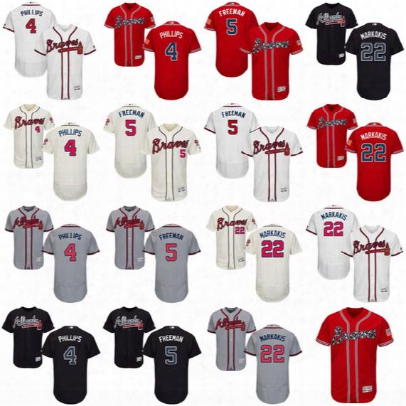 2017 Atlanta Braves 5 Freddie Freeman 4 Brandon Phillips #22 Nick Markakis #31 Greg Maddux Flexbase Baseball Jerseys