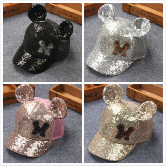 2017 Baby Summer Hats Caps Hats Wholesale Fashion Mickey M Sequins Mesh With Ears Children Caps Adjustable Free Shipping Kids Baseball Caps