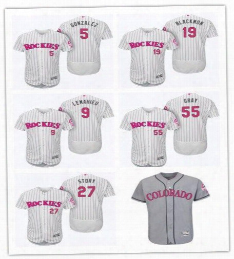 2017 Custom Colorado Rockies 5 Gonzalez 19 Blackmon 27 Story 28 Arenado Mother's Day Memorial Day Father's Day Jersey Size S-6xl