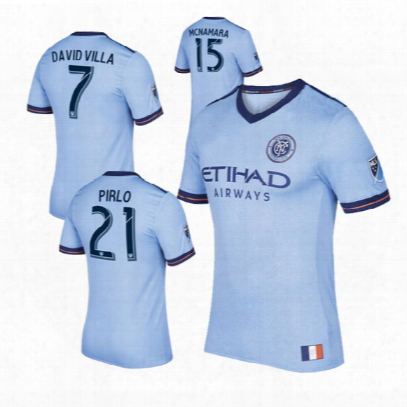 2017 Fan Version New York City Mls Soccer Jersey Fo Otball Shirts 17/18 Nyc Home Pirlo Camiseta De Futbol David Villa Maglie