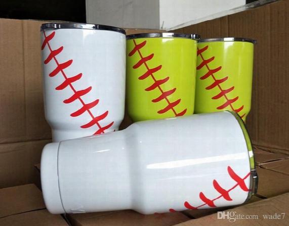 2017 Hot Sale 30oz Baseball Softball Sprot Ramblers Tumblers 304 Stainless Steel Mugs Beer Car Yetis Cups