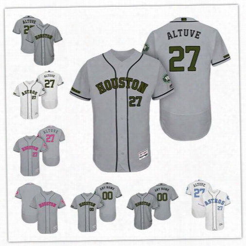 2017 Houston Astros Gray Father's Day Mother's Day Memorial Day Flex Base Cool Base Jerseys Customed Any Name Any Number Size S-6xl