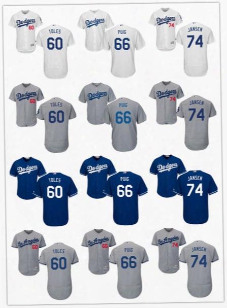 2017 Los Angeles Dodgers 74 Kenley Jansen 66 Yasiel Puig 60 Andrew Toles Cool Base Flex Base Baseball Jersey Free Shipping Size S-6xl