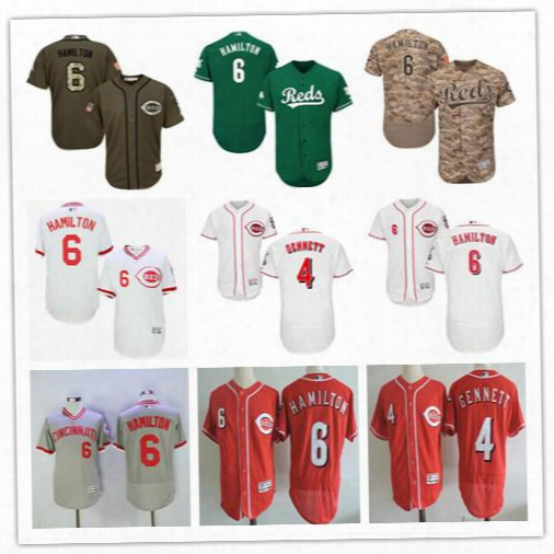2017 Men Flexbase Jerseys Baseball 6 Billy Hamilton 4 Scooter Gennett Cincinnati Reds Shirts Throwback Pullover Grey White Red Camo Green
