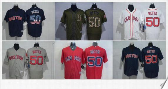 2017 Mens Boston Red Sox Flexbase  #50 Mookie Betts Embroidery Cool Base Cheap Baseball Shirts Stitched Sports Team Pro Jerseys Size S-xxxl