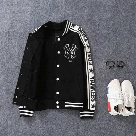 2017 New 03 Arrival Free Shipping Mencoat Mlb Jackets Men's Ny Hip-hop Stripe Club Coat