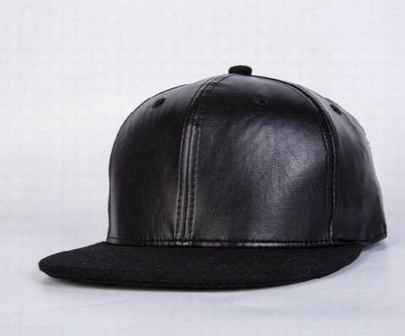 2017 New Black Smooth Leather Made Baseball Caps Casual Sports Cool Strapback Hat Mens Hats Womens Hats Teeages Fashion Cap Free Shipping