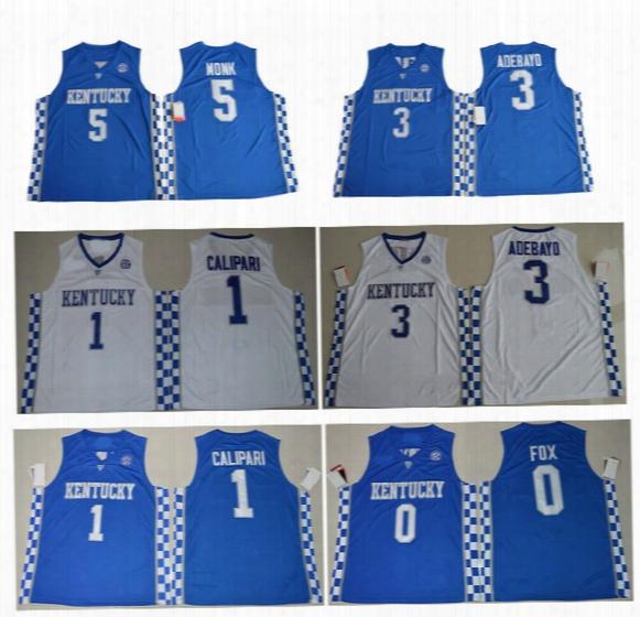 2017 New Cheap Kentucky Wildcats Jerseys 5 Malik Monk 3 Edrice Adebayo 1 Coach John Calipari 0 De'aaron Fox Blue White College Jerseys
