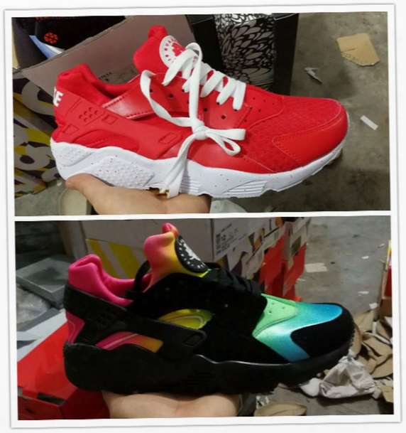 2017 New Color Air Huarache Ultra Running Shoes Huaraches Rainbow Ultra Breathe Shoes Men Women Huraches Multicolor Sneakers Size 36-45