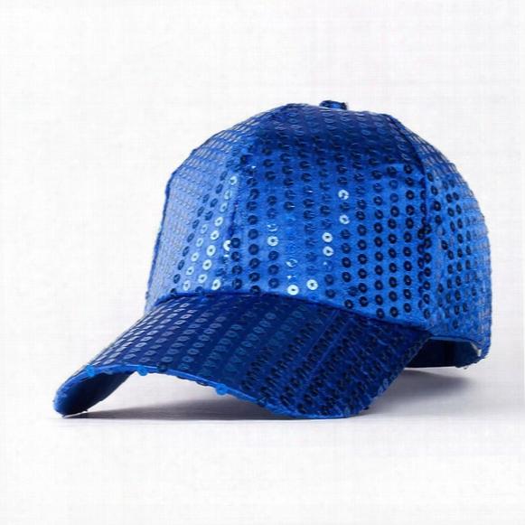 2017 New Fashion Unisex Sequins Embroidery Baseball Cap Trendy Paillette Curved Brim Hat Women Hip Hop Caps Men Snapback Hats