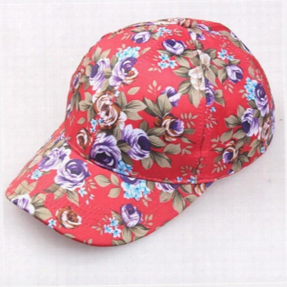 2017 New Fashiong Lady Girl Flower Printing Visor Hat Baseball Cap Snapback Hip-hop Hats For Four Seasons