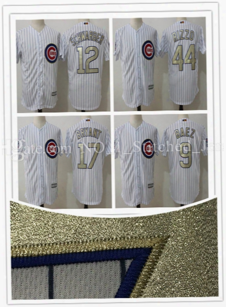2017 New Men's Chicago Cubs Javier Baez 9# Kyle Schwarber 12# Jersey Majestic White 2017 Gold Program Cool Base Player Jersey M-xxxl