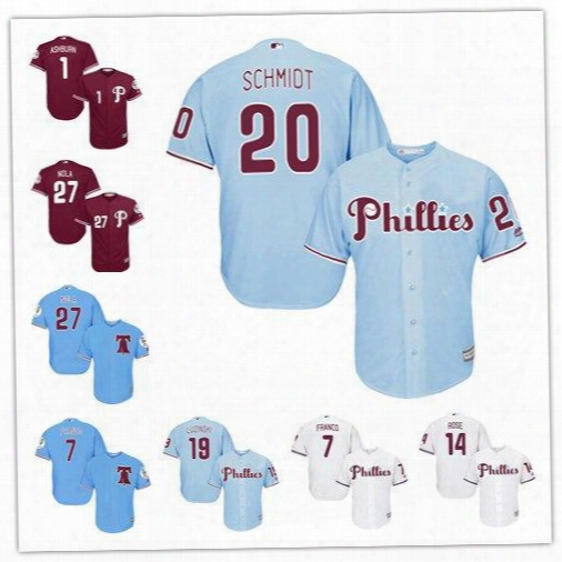 2017 New Philadelphia Phillies 1 Richie Ashburn 7 Maikel Franco 20 Mike Schmidt 27 Aaron Nola 14 Pete Rose Baseball Player Jersey Size S-6xl