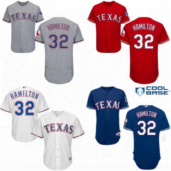 2017 New Season Texas Rangers #32 Josh Hamilton Jersey Men's 100% Stitched Embroidery Logos Baseball Jerseys White Blue Red Grey Mix Order