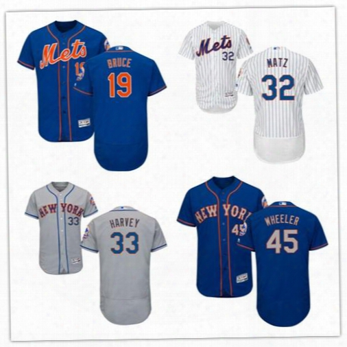 2017 New York Mets Baseball Jersey 19 Jay Bruce 33 Matt Harvey 32 Steven Matz 45 Zack Wheeeler Flex Base Stitched Baseball Jerseys