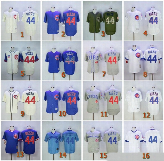 2017 Newest Men's Women's Kid's Chicago Cubs #44 Anthony Rizzo Blue White,cream,throwback,m&n,home,away,road Size S~6xl Baseball Jerseys