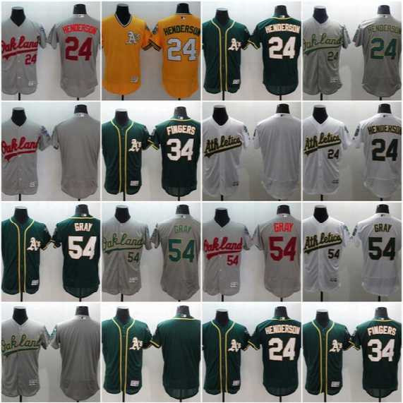 2017 Oakland Athletics #54 Sonny Gray #24 Ricky Henderson #34 Rollie Fingers Men All Stitched Embroidery Flexbase Onfiled Baseball Jerseys