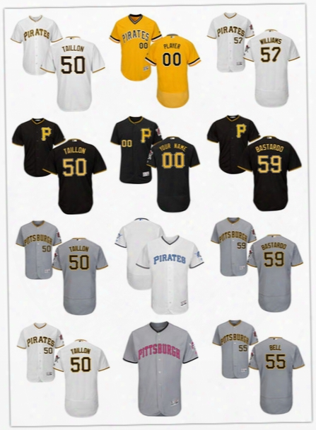 2017 Pittsburgh Pirates Custom Jerseys 50 Jameson Taillon 51 Tyler Webb 55 Josh Bell 57 Trevor Williams 59 Antonio Bastardo Jersey