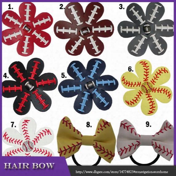 2017 Softball Baseball Football Leather Hair Flower Hairclips Seamed Hair Bows Team Colors Rhinestone Super Bowl 9 Color