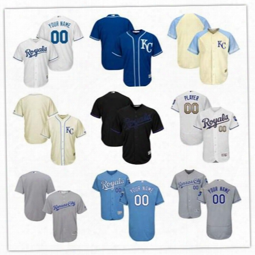 2017 Specialty Custom Men's Kansas City Royals Authentic Collection Personalized Cool Base Stitched Baseball Jersey Size S-4xl
