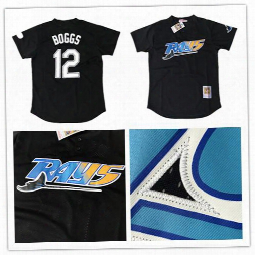 2017 Tampa Bay Rays Wade Boggs #12 Baseball Jersey Mitchell & Ness Black Cooperstown 1991 Mesh Batting Practice Jersey 100% Stitched