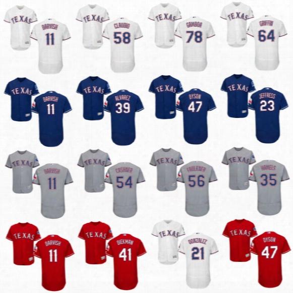 2017 Texas Rangers Yu Darvish Matt Bush Sam Dyson A.j. Griffin Cole Hamels Mike Hauschild Jeremy Jeffress Flexbase Baseball Jerseyss