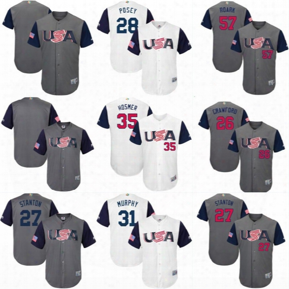 2017 Usa World Baseball Classic Wbc Jersey 29 Tyler Clippard 30 David Robertson 31 Daniel Murphy 32 Michael Fulmer 65 Nate Jones Jerseys