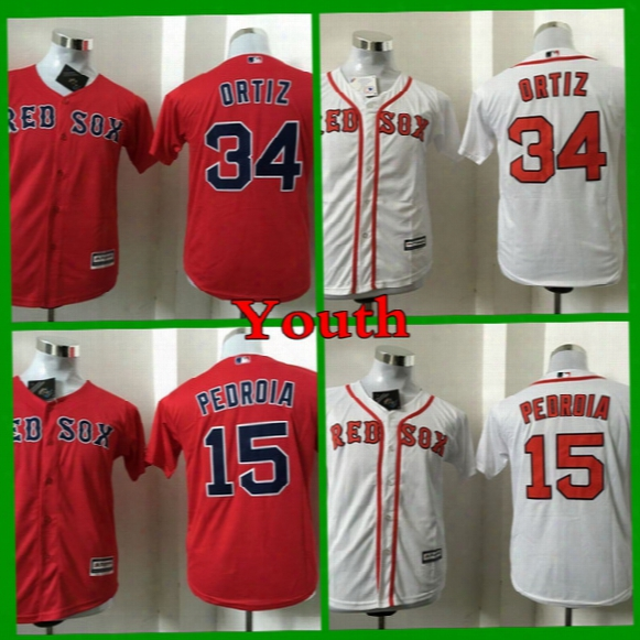 2017 Youth Boston Red Sox Baseball Jersey Cool Base 34 David Ortiz 15 Dustin Pedroia Kids Stitched Jerseys Cheap Boys