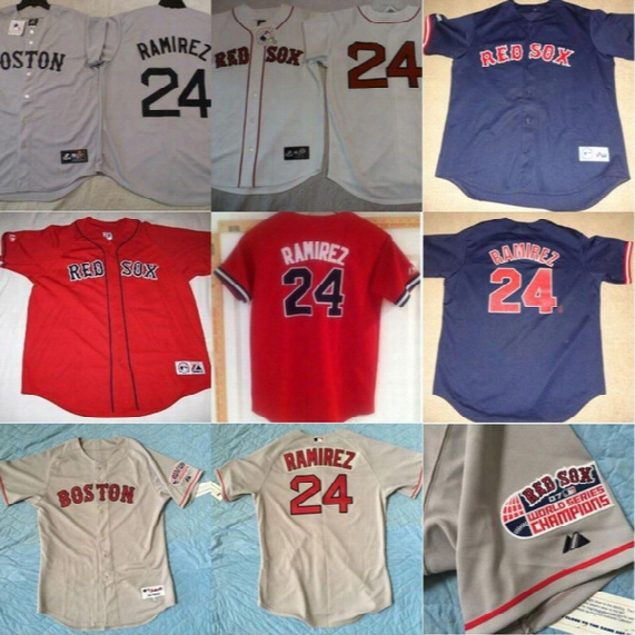 #24 Manny Ramirez Jersey Mens Boston Red Sox 100% Stitched Manny Ramirez Throwback Baseball Jerseys White Grey Red Blue