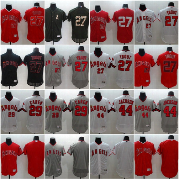 #27 Mike Trout #29 Rod Carew #44 Reggie Jackson 2017 Los Angeles Angels Men All Stitched S-4xl Flexbase Onfiled Baseball Jerseys