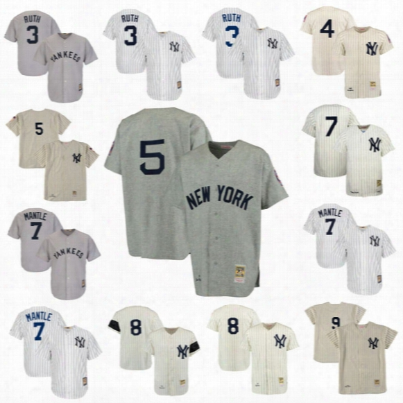 # 3 Babe Ruth New York Yankees Cooperstown Collection Mesh Bp Jersey 4 Lou Gehrig 5 Joe Dimaggio 7 Mickey Mantle Baseball Throwback Jerseys
