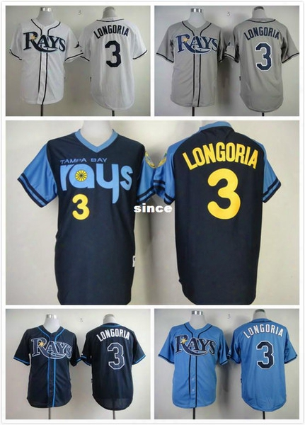30 Teams- 2015 New Cheap Stitched Tampa Bay Devil Rays Jersey #3 Evan Longoria Men's Baseball Jersey