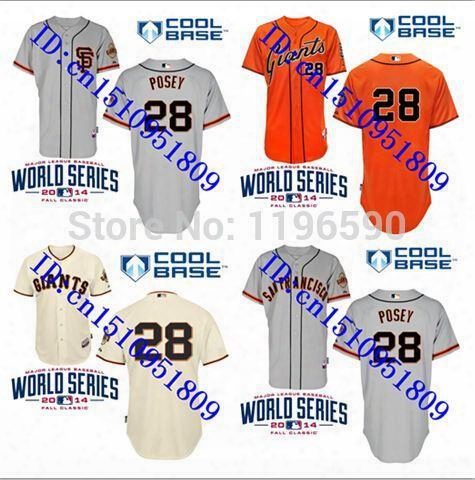 30 Teams- Cheap Buster Posey Giants 28# San Francisco 2015 World Series Baseball Jerseys More Color Embroidered Size S-5xl