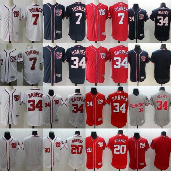 34 Bryce Harper Jerseys Washington Nationals Mens 7 Trea Turner 20 Daniel Murphy Baseball Jerseys Cheap Mix Order Wholesale Red Blue White