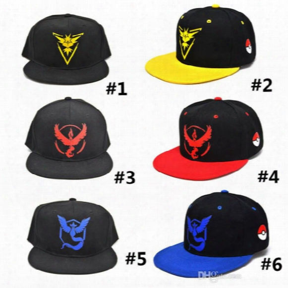 3d Cartoon Poke Go Caps Poke Ball Embroidery Cap Hats Casual Poke Men Women Unisex Baseball Cap Mystic Valor Snapback