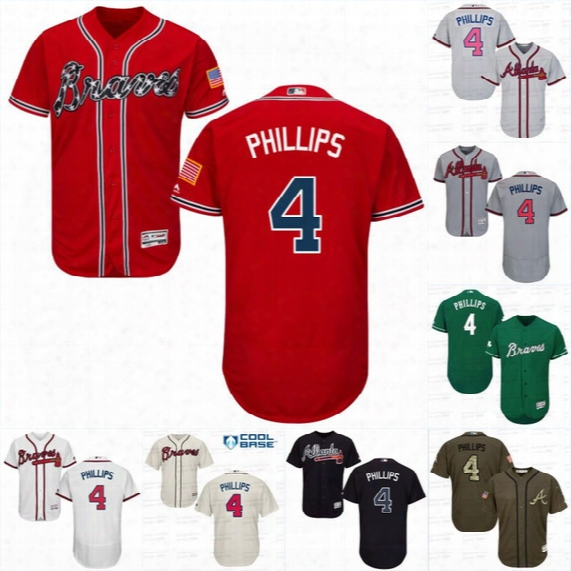 #4 Brandon Phillips Jersey, Men's Atlanta Braves 2017 New Arrival Brandon Phillips 100% Stitched Embroidery Logos Baseball Jerseys