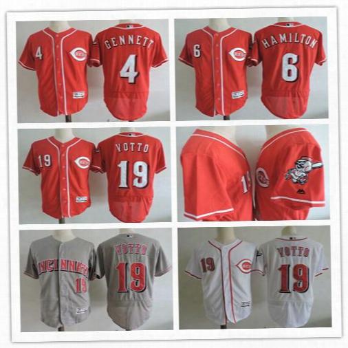 4 Scooter Gennett 6 Billy Hamilton 19 Joey Votto Cincinnati Reds White Red Grey Cheap Baseball Jerseys Stitiched Logo