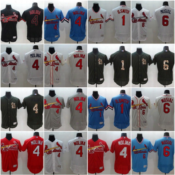 #4 Yadier Molina #6 Stan Musial #1 Ozzie Smith 2017 St. Louis Cardinals Men All Stitched Embroidery Flexbase Onfiled Baseball Jerseys