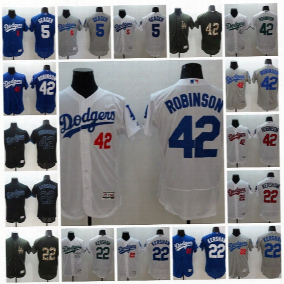 #42 Jackie Robinson 2017 Los Angeles Dodgers #22 Clayton Kershaw #5 Corey Seager Men All Stitched Flexbase Onfiled Baseball Jerseys