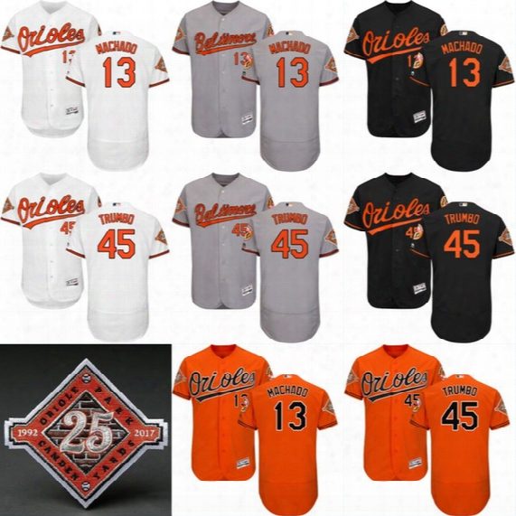 45 Mark Trumbo Jersey With 25th Commemorative Patch Mens Baltimore Orioles 2017 Authentic Flex Base Cool Base 13 Manny Machado Jerseys