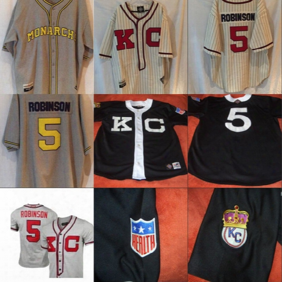 5 Jackie Robinson Kansas City Monarchs Retro Negro League Replica Jersey 100% Stitched Embroidery Logos Baseball Jerseys Any Name And Number