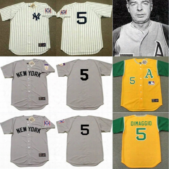 #5 Joe Dimaggio Throwback Baseball Jerseys Oakland Athletics 1969 New York Yankees 1939 1951 Cooperstown Jersey Throwbacks Grey White
